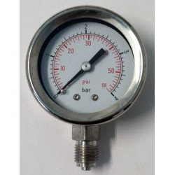 Stainless steel pressure gauge 4 Bar diameter dn 50mm bottom