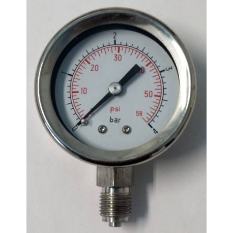 Stainless steel pressure gauge 4 Bar diameter dn 50mm bottom