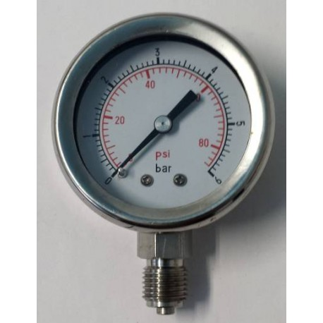 Stainless steel pressure gauge 6 Bar diameter dn 50mm bottom