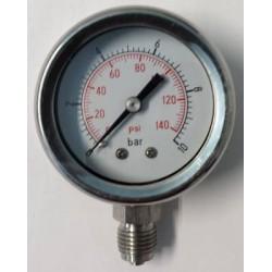 Stainless steel pressure gauge 10 Bar diameter dn 50mm bottom