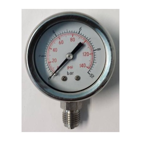 Stainless steel pressure gauge 10 Bar diameter dn 50mm bottom