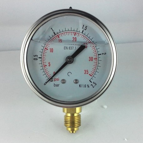 Glycerine filled pressure gauge 2,5 Bar diameter dn 63mm bottom