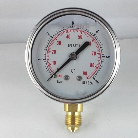 Glycerine filled pressure gauge 6 Bar diameter dn 63mm bottom