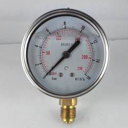 Glycerine filled pressure gauge 16 Bar diameter dn 63mm bottom