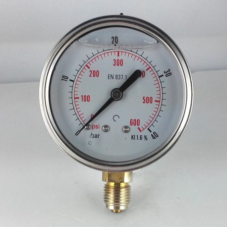 Glycerine filled pressure gauge 40 Bar diameter dn 63mm bottom