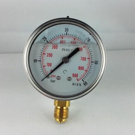 Glycerine filled pressure gauge 60 Bar diameter dn 63mm bottom