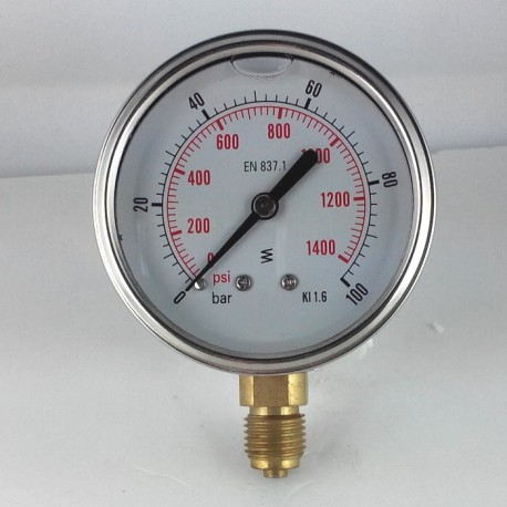Glycerine filled pressure gauge 100 Bar diameter dn 63mm bottom
