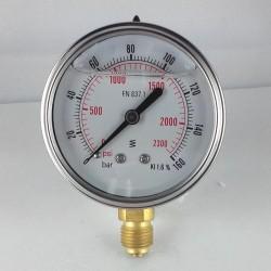 Glycerine filled pressure gauge 160 Bar diameter dn 63mm bottom