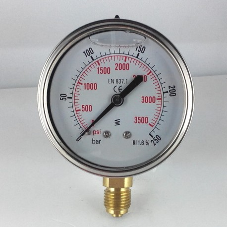 Glycerine filled pressure gauge 250 Bar diameter dn 63mm bottom