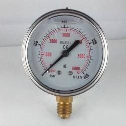 Glycerine filled pressure gauge 400 Bar diameter dn 63mm bottom