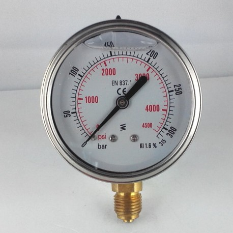 Glycerine filled pressure gauge 315 Bar diameter dn 63mm bottom