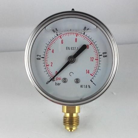 Glycerine filled pressure gauge 1 Bar diameter dn 63mm bottom