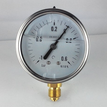 Glycerine filled pressure gauge -1+0,6 Bar diameter dn 63mm bottom