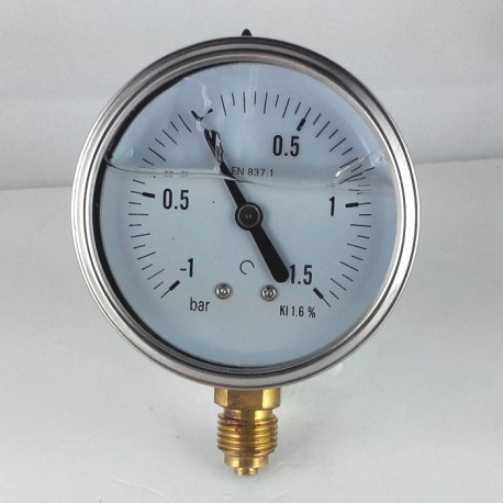 Glycerine filled pressure gauge -1+1,5 Bar diameter dn 63mm bottom