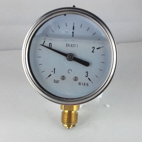 Glycerine filled pressure gauge -1+3 Bar diameter dn 63mm bottom