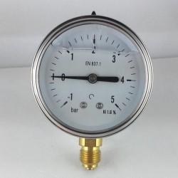 Glycerine filled pressure gauge -1+5 Bar diameter dn 63mm bottom