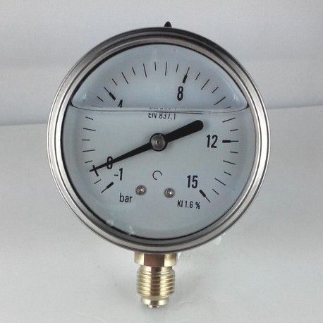 Glycerine filled pressure gauge -1+15 Bar diameter dn 63mm bottom