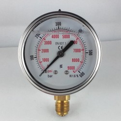 Glycerine filled pressure gauge 600 Bar diameter dn 63mm bottom
