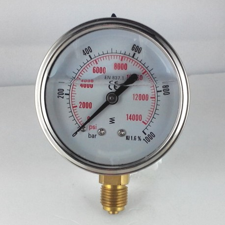 Glycerine filled pressure gauge 1000 Bar diameter dn 63mm bottom