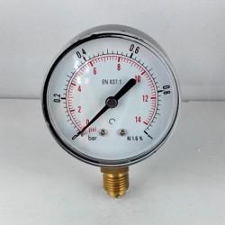 Dry pressure gauge 1 Bar diameter dn 63mm bottom