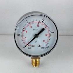 Dry pressure gauge 2,5 Bar diameter dn 63mm bottom