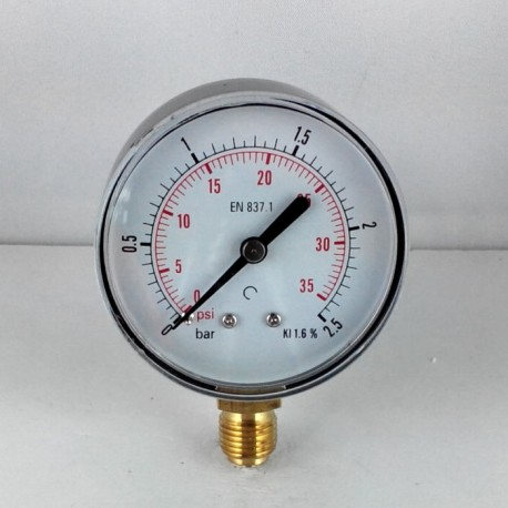 Dry pressure gauge 2,5 Bar diameter dn 63mm bottom