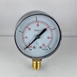 Dry pressure gauge 4 Bar diameter dn 63mm bottom