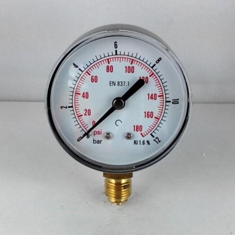 Dry pressure gauge 12 Bar diameter dn 63mm bottom