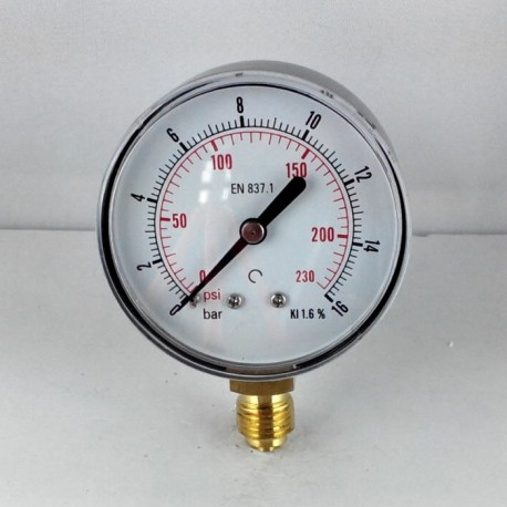 Dry pressure gauge 16 Bar diameter dn 63mm bottom