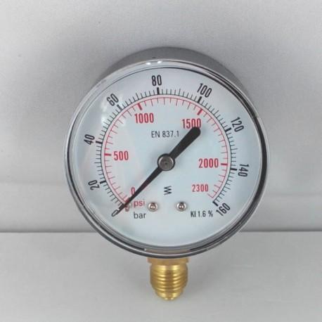 Dry pressure gauge 160 Bar diameter dn 63mm bottom