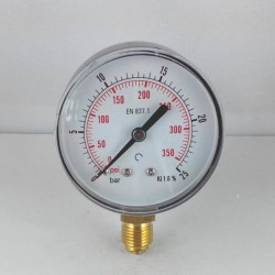 Dry pressure gauge 25 Bar diameter dn 63mm bottom
