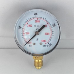 Dry pressure gauge 400 Bar diameter dn 63mm bottom