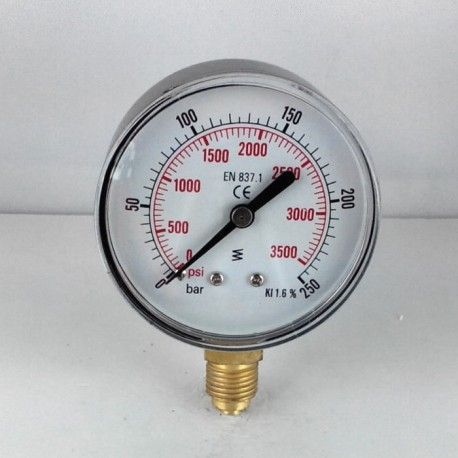 Dry pressure gauge 250 Bar diameter dn 63mm bottom