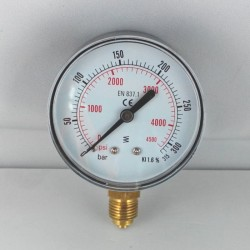 Dry pressure gauge 315 Bar diameter dn 63mm bottom