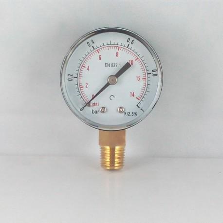 Dry pressure gauge 1 Bar diameter dn 50mm connection