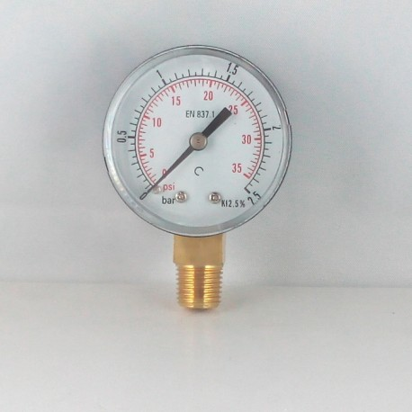 Dry pressure gauge 2,5 Bar diameter dn 50mm connection