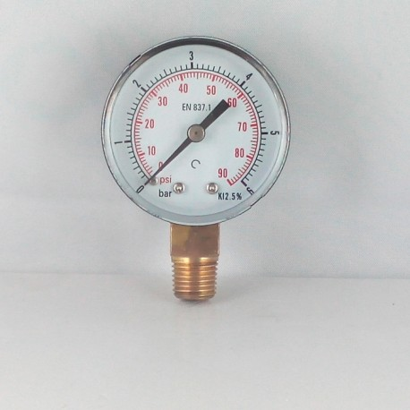 Dry pressure gauge 6 Bar diameter dn 50mm connection