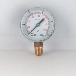 Dry pressure gauge 10 Bar diameter dn 50mm connection