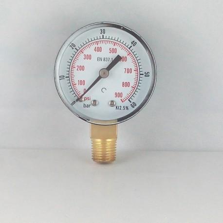 Dry pressure gauge 60 Bar diameter dn 50mm connection