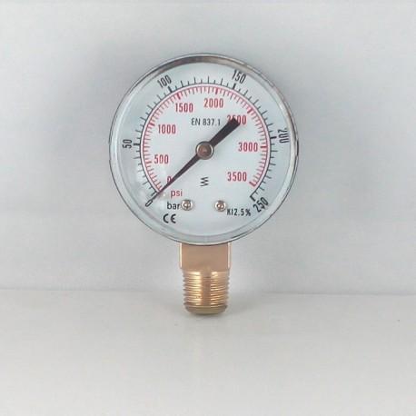 Dry pressure gauge 250 Bar diameter dn 50mm connection