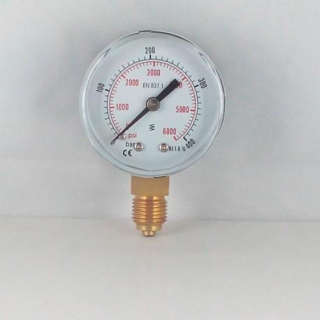 Dry pressure gauge 400 Bar diameter dn 50mm connection