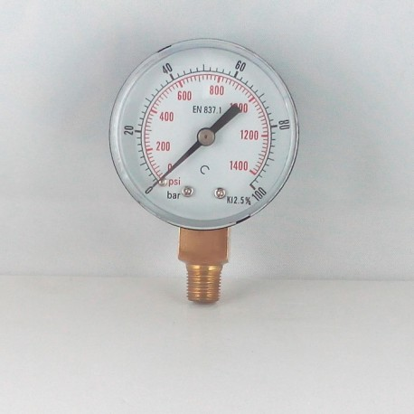 "Dry pressure gauge 100 Bar diameter dn 50mm 1/8""Bspt connection"