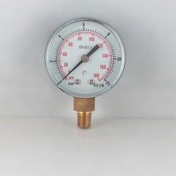 "Dry pressure gauge 12 Bar diameter dn 50mm 1/8""Bspt connection"