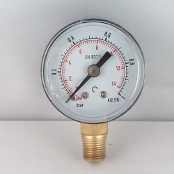 Dry pressure gauge 1 Bar diameter dn 40mm bottom