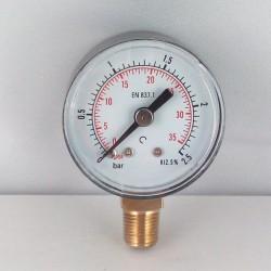 Dry pressure gauge 2,5 Bar diameter dn 40mm bottom