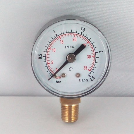 Dry pressure gauge 2,5 Bar diameter dn 40mm bottom