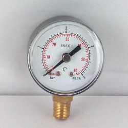 Dry pressure gauge 4 Bar diameter dn 40mm bottom