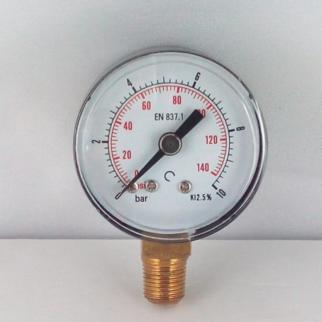 Dry pressure gauge 10 Bar diameter dn 40mm bottom