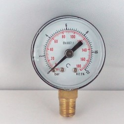Dry pressure gauge 12 Bar diameter dn 40mm bottom
