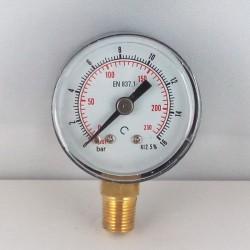 Dry pressure gauge 16 Bar diameter dn 40mm bottom